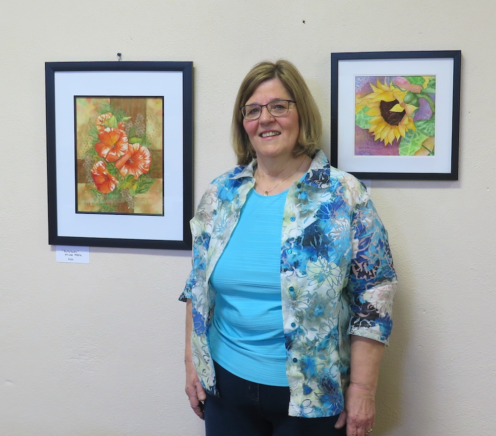 Jill Schutte and two of her artworks